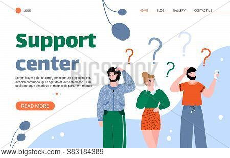 Support Center Landing Page For Website. People Concerning About Something. Looking For Answers For