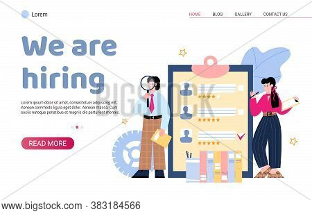 Employee Hire Web Banner Template With People Characters, Cartoon Vector Illustration. Mockup, For L