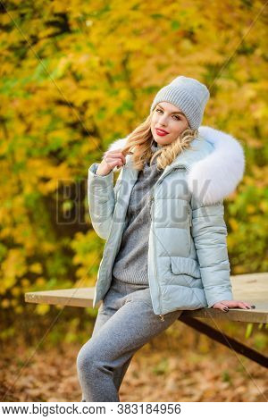 Warm Knitwear. Clothes For Rest. Girl Relaxing In Nature Wearing Knitwear Suit And Jacket. Model Kni