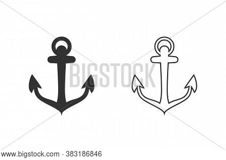 Anchor Vector Icon Set Logo Nautical Maritime Sea Ocean Boat Illustration