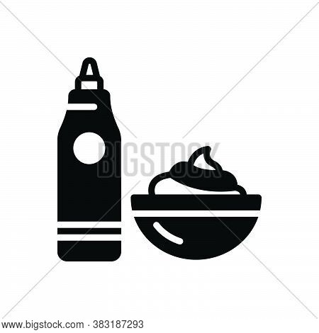 Black Solid Icon For Sauce Ketchup Gravy Relish Dip Sour Cream Bowl Container Dessert Homemade