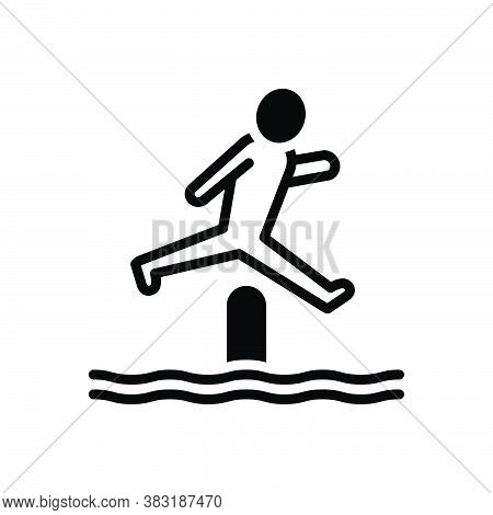 Black Solid Icon For Jump Bounce Obstacle-race Person Youth Playful Competitor
