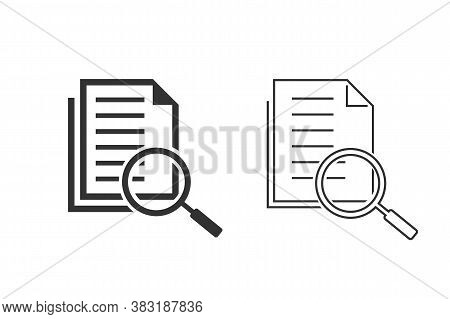 Scrutiny Document Plan Line Icon Set In Flat Style. Review Statement Vector