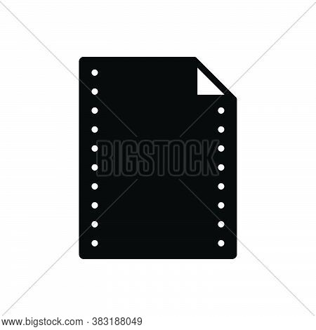 Black Solid Icon For Paper Note Letter Form Paper-work Pitch Banknote Concept Document Message Page
