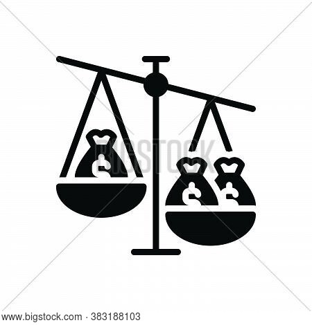 Black Solid Icon For Ratio Proportion Comparative Poise Equilibrium Imbalance Compare Balance Dollar