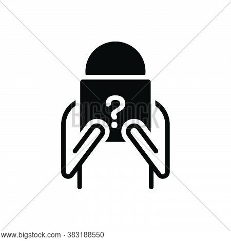 Black Solid Icon For Unknown Unnamed Unfamiliar Nameless Unware  Anonymous Strange Unrecognized Who