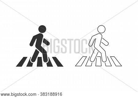 Crosswalk Line Icon Symbol Logo Template. Vector