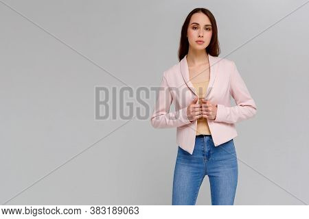 Attractive Confident Creative Good-looking Female Bossy Employee Self-assured Pose Smiling Assertive