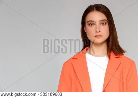 Portrait Of Beautiful Woman With Nude Make-up