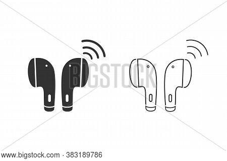 Earphone Bluetooth Line Icon Set Design. Earphone Icon In Modern Flat Style Design. Vector Illustrat