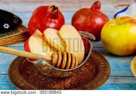 A Jewish New Year With Honey For The Apple And Pomegranate Holiday Of Rosh Ha Shana Jewish Prays