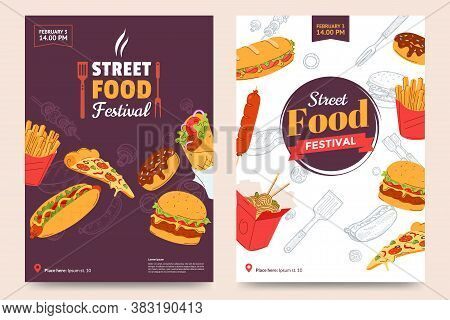 Street Food Festival Poster Design. Fast Food Banner Design With Burger, Sandwich, French Fries, Don