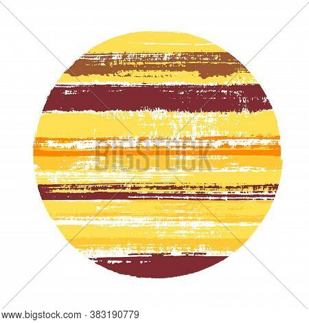 Abrupt Circle Vector Geometric Shape With Stripes Texture Of Ink Horizontal Lines. Old Paint Texture