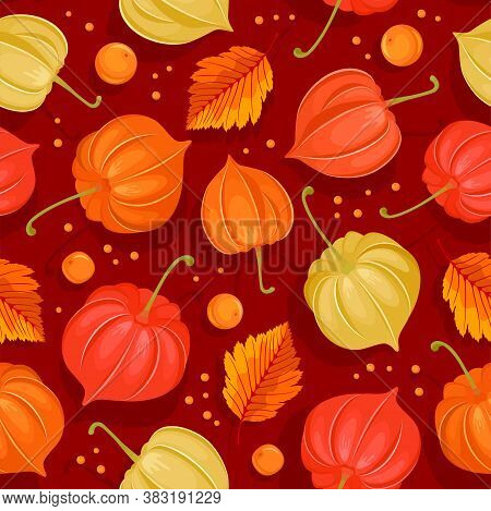 Seamless Pattern In Red And Orange Tones With Autumn Leaves And Physalis Franchetii Or Winter Cherry