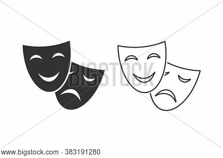 Happy And Sad Theater Mask Vector Line Icon Set