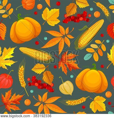 Seamless Pattern With Autumn Leaves, Plants And Vegetables. Fall Harvest Background With Maple Leave