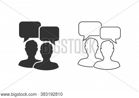 Talk People Line Icon Set In Flat Style. Man With Speech Bubble Illustration. Talk Chat Business Con