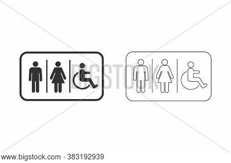 Lavatory Line Icon Set. Rest Room Signage. Toilet Symbol Vector Illustration Template.