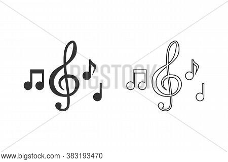 Music Note Illustration Line Icon. Sound And Melody Symbols