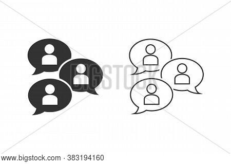 Group Chat Bubbles Or Forum Discussion With Multiple People Chatting Flat Vector Line Icon Set For A