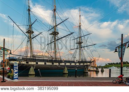 Baltimore, Maryland, Us - September 4, 2019 View Of Baltimore Harbor With Uss Constellation Ship And