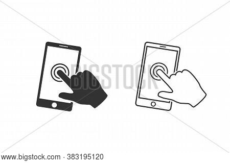 Smartphone Screen With Hand, Touch Screen Line Icon Set. Vector