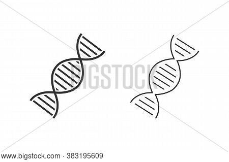 Dna Orchromosome Abstract Strand Symbol. Line Icon Set. Vector