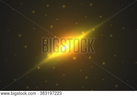 Bright Light In The Cosmic Sky. Astronomical Abstract Background. Shining Stars And A Powerful Cosmi