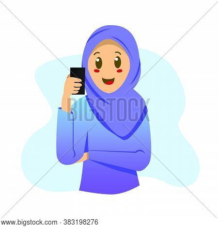 Illustration Young Hijab Girl With Smart Phone Design Isolated On White Background