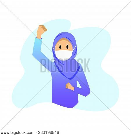 Illustration Young Hijab Girl Wear Face Mask To Fight Covid 19