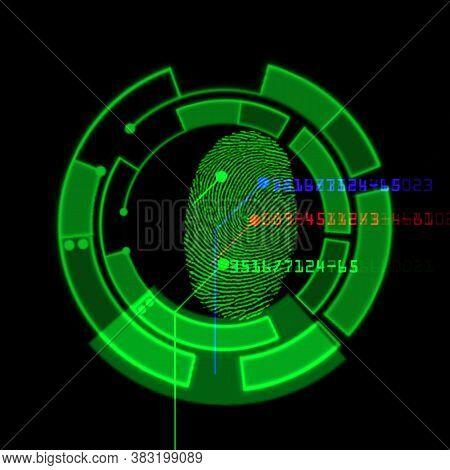 Digital Fingerprint Scanning Identification System, Illustration Abstract