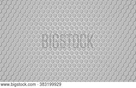 Light Hexagon In Gray Background. Gray Honeycomb Texture Grid. Grey Hexagonal Textured Background.