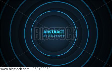 Dark Colorful Geometric Abstract Background. Dark Blue And Light Blue Circles Paper Cut Decoration D