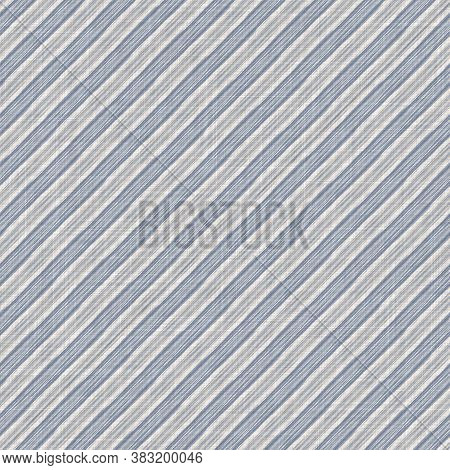 Seamless French Farmhouse Woven Linen Stripe Texture. Ecru Flax Blue Hemp Fiber. Natural Pattern Bac