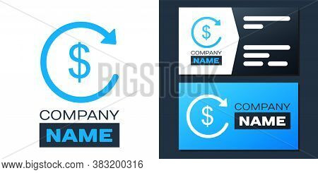 Logotype Refund Money Icon Isolated On White Background. Financial Services, Cash Back Concept, Mone