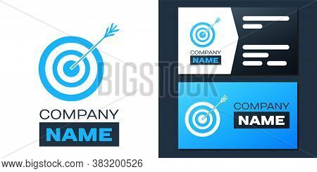 Logotype Target With Arrow Icon Isolated On White Background. Dart Board Sign. Archery Board Icon. D