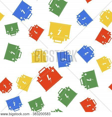 Color Car Battery Icon Isolated Seamless Pattern On White Background. Accumulator Battery Energy Pow