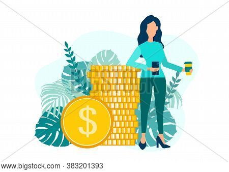 Woman With A Mobile Phone On The Background Of Coins. Financial Transactions, Non-cash Payment Trans