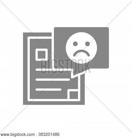 Document With Sad Face Grey Icon. Disapprove Symbol.