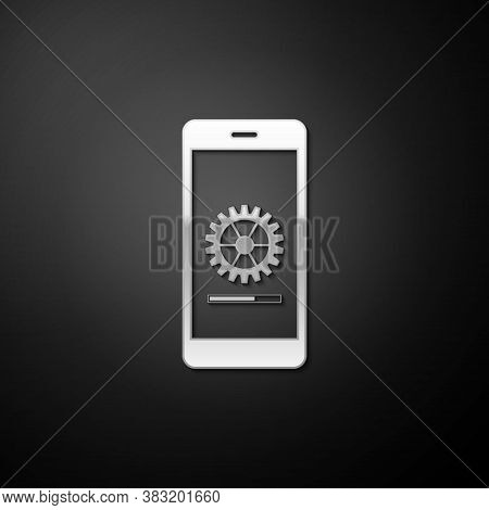 Silver Smartphone Update Process With Gearbox Progress And Loading Bar Icon Isolated On Black Backgr