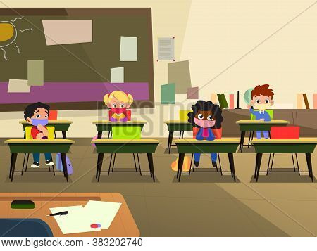 A Vector Illustration Of School Children In Classroom Wearing Mask