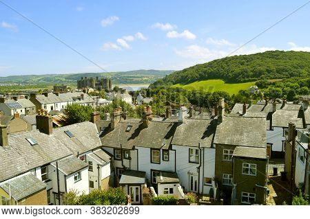 Conwy, Wales, United Kingdom - June 22, 2014 : A View Of Conwy Castle And Conwy Town In North Wales
