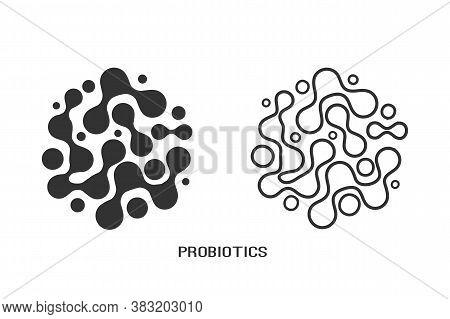 Probiotics Bacteria Logo Design Line Icon Set. Healthy Nutrition Ingredient