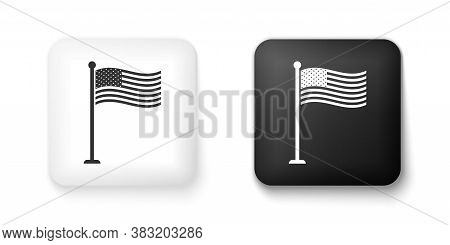 Black And White National Flag Of Usa On Flagpole Icon Isolated On White Background. American Flag Si