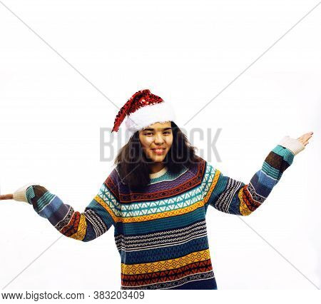 Cute Young Real African Hipster Girl In Santas Red Hat Isolated On White Background Waiting For Wint