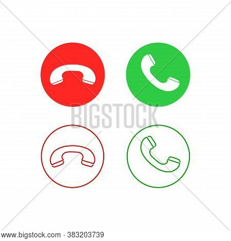 Phone Call Line Icon Set. Accept Call And Decline Button. Green And Red Buttons With Handset Silhoue