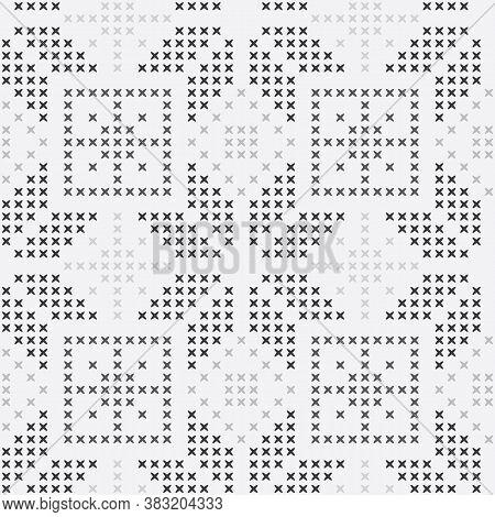 Vector Cross Stitch Winter Seamless Pattern Print Background.