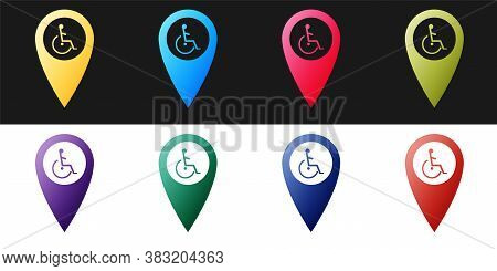 Set Disabled Handicap In Map Pointer Icon Isolated On Black And White Background. Invalid Symbol. Wh