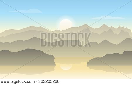 Vector Landscape In Pastel Colors With Silhouettes Of Mountains And Warm Sunlight. The Sun And The S