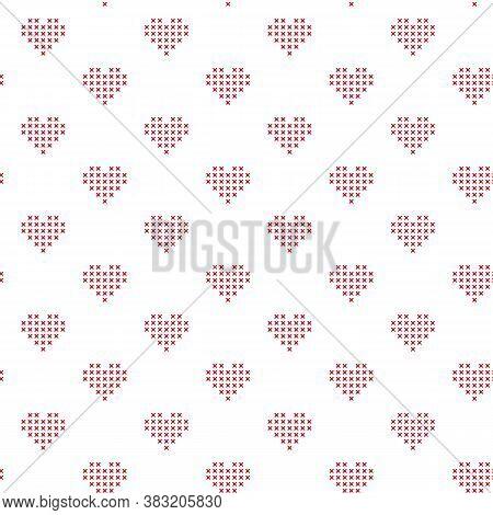 Vector Cross Stitch Hearts Seamless Pattern Print Background.